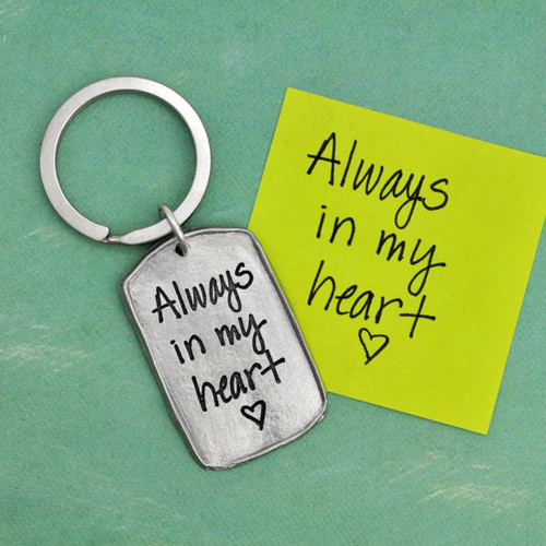 Military tag handwritten fine pewter key chain, shown with the original love note used to personalize it