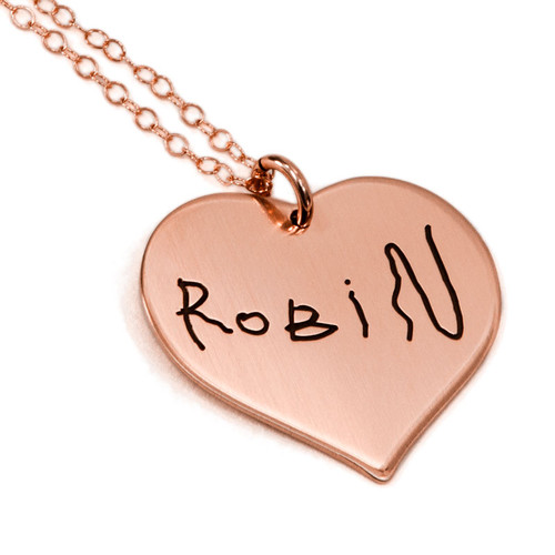 Handwriting heart necklace in rose gold, shown child's signature to make a mother's day gift