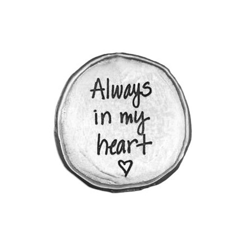 My Mantra Handwriting Pocket Token in fine pewter, shown on white
