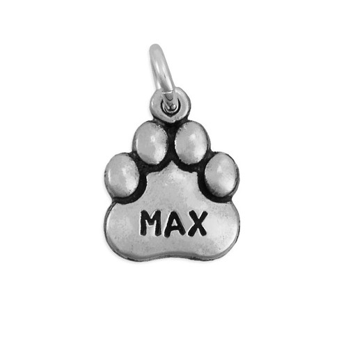 Hand stamped sterling silver paw charm dog