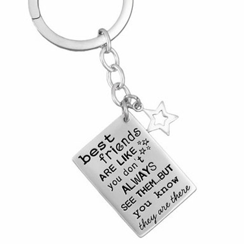 Friends are like stars sterling silver stamped custom key ring, shown close up on white