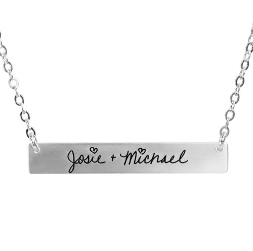 Custom Silver Handwriting bar necklace personalized with your actual handwriting, shown close up on white