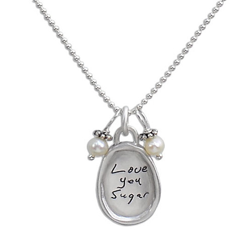 Small silver oval handwritten necklace