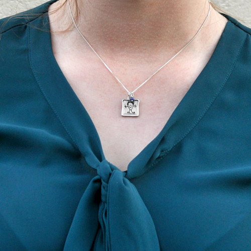Square fine silver custom handwriting necklace