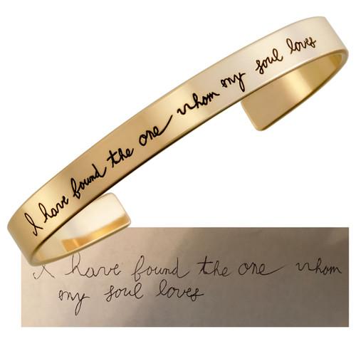 Bridal gift handwritten note on gold cuff bracelet