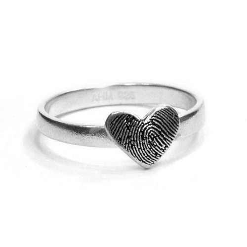 custom heart shaped fingerprint jewelry ring in sterling silver, personalized with your loved one's actual fingerprint, shown on white