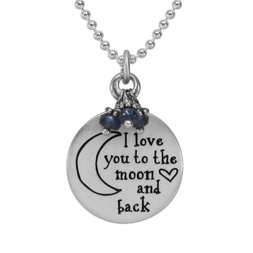 Silver I love you to the moon and back necklace with sapphires