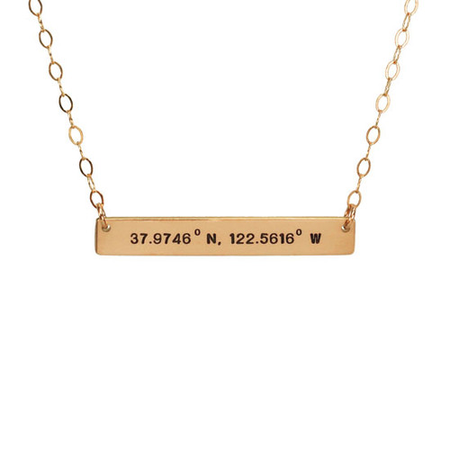 Hand stamped coordinates bar necklace in gold