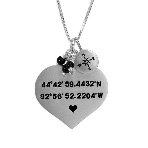 Large Heart Coordinates Necklace