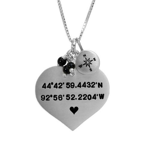 Large Heart Coordinates Necklace
