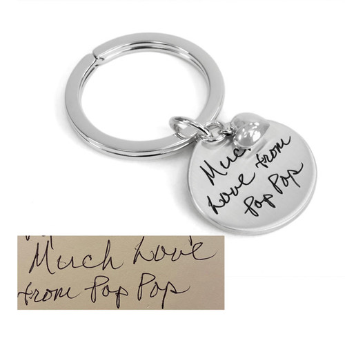 Custom handwriting sterling silver key chain, shown with original handwritten note from Pop Pop used to personalize it, shown close up on white