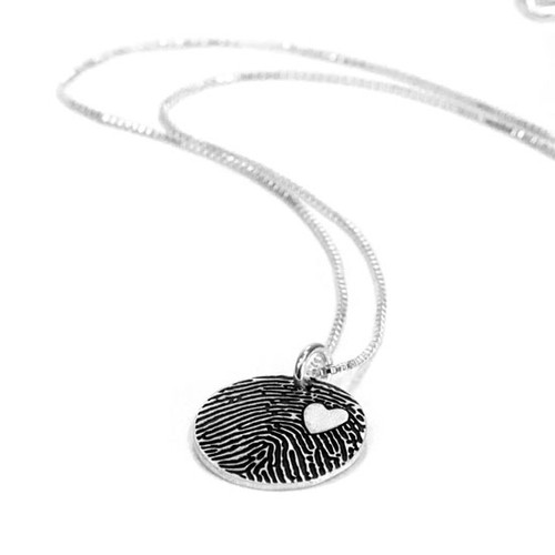 Custom silver fingerprint necklace with your loved one's actual fingerprint