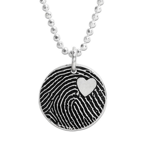 Custom Silver fingerprint necklace, shown close up on white
