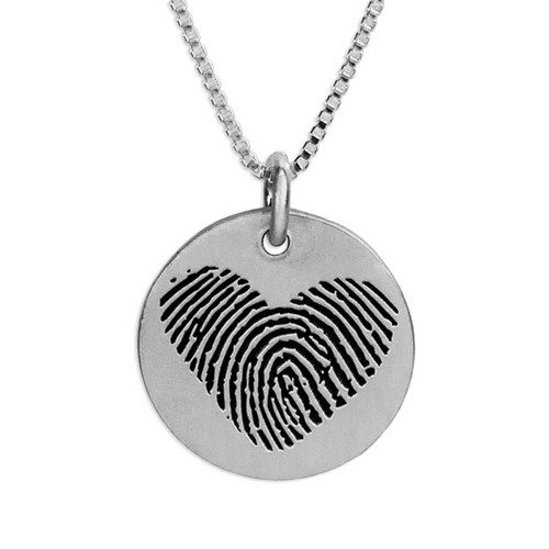 Custom Silver fingerprint necklace, personalized with loved one's actual fingerprint, shown close up on white