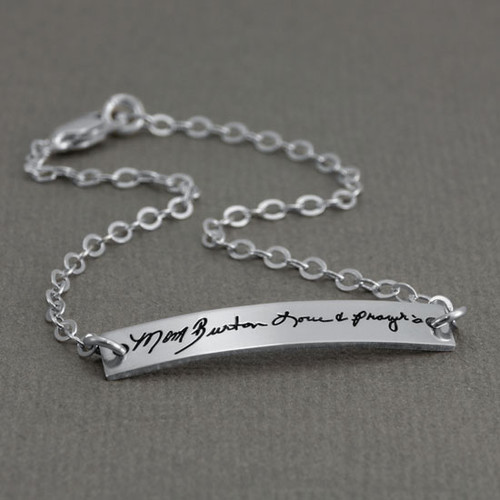 Dainty bracelet with your actual writing in sterling silver, shown from the side close up