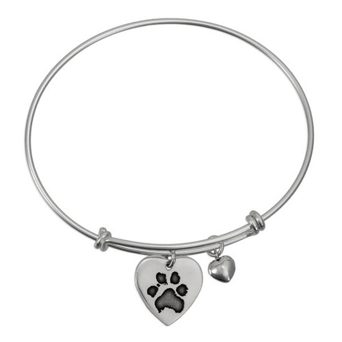 Custom expandable bracelet , personalized with your pet's actual paw print engraved on a silver heart charm, with a silver puffed heart