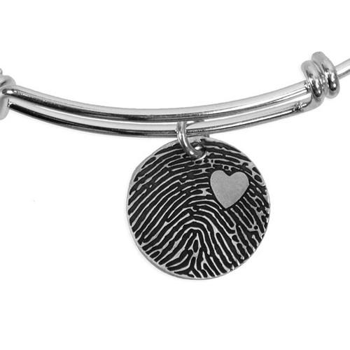 Adjustable sterling silver bracelet with custom fingerprint charm