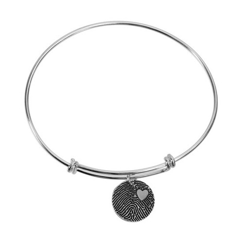 Adjustable sterling silver bracelet with custom fingerprint charm, made with your loved one's actual fingerprint, shown on white
