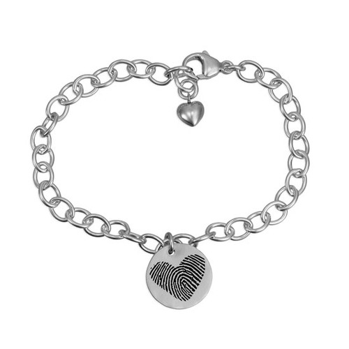 Custom fingerprint heart shaped bracelet