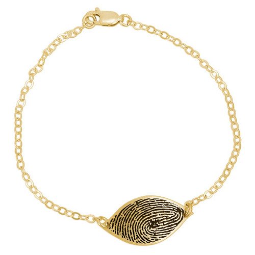 Custom fingerprint petal bracelet in gold