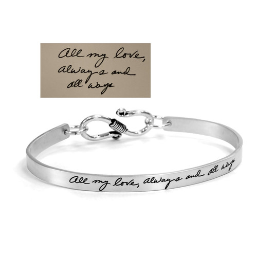 custom Sterling silver handwriting cuff bracelet with clasp, shown with the handwriting used to personalize it