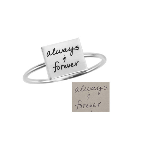 "Custom Square Dainty Handwriting Ring, personalized with your actual handwriting, shown with original handwritten ""Always & Forever"", close up on white"