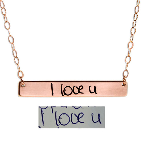 Rose gold bar necklace with handwritten note, shown with the original handwriting used to personalize it