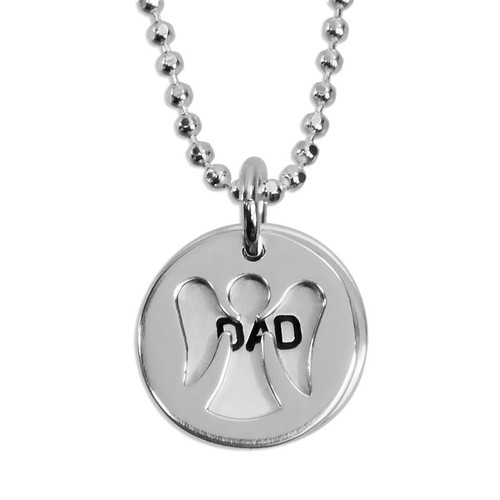 Custom silver Angel Charm and Name Disc necklace, personalized with hand stamped name, shown on white