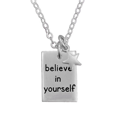 Custom Believe In Yourself Necklace, hand stamped in sterling silver, with silver star and sterling chain, shown on white background
