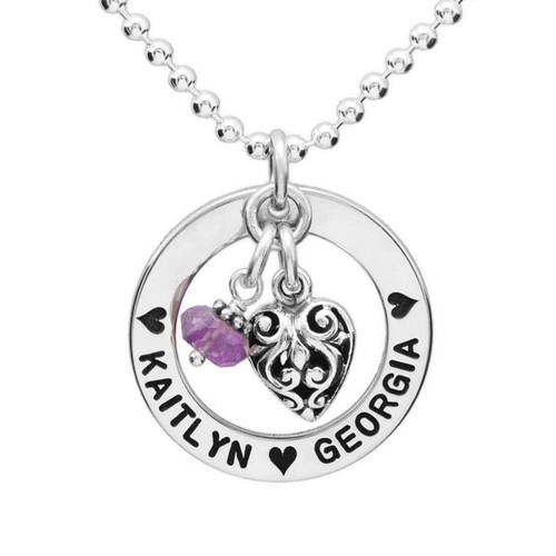 Silver Forever Love Circle Necklace, with amethyst & Puffed Heart Scroll charm, personalized with hand stamped kids' names, shown on white