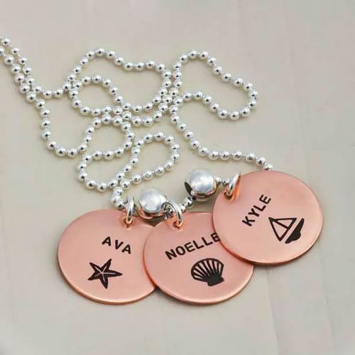 Hand stamped Copper Name Discs, personalized with kids names & symbols, Available in 3 Charm Sizes