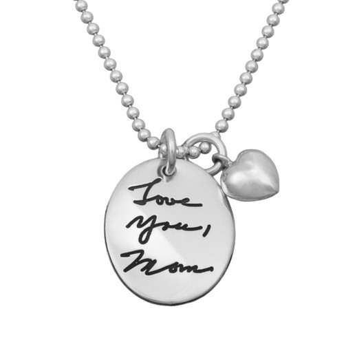 Custom silver Oval Handwriting/Artwork Charm, personalized with handwritten note and signature from Mom