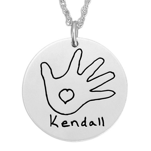 "Custom Silver Round Handwriting Artwork Necklace with child's drawing of mom on a silver 3/4"" circle charm"
