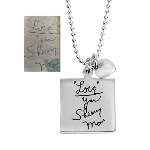 Memorial Silver Square Handwriting Artwork Necklace, shown close up with original handwritten note & signature from mom used to personalize it, hung with a silver puffed heart charm