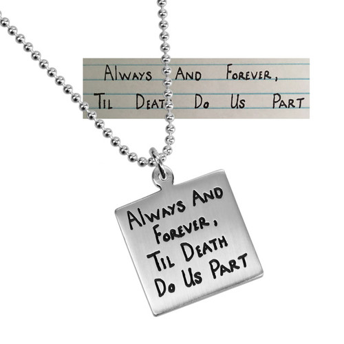 Wedding gift Silver Square Handwriting Artwork Necklace, shown close up with original handwritten note used to personalize it