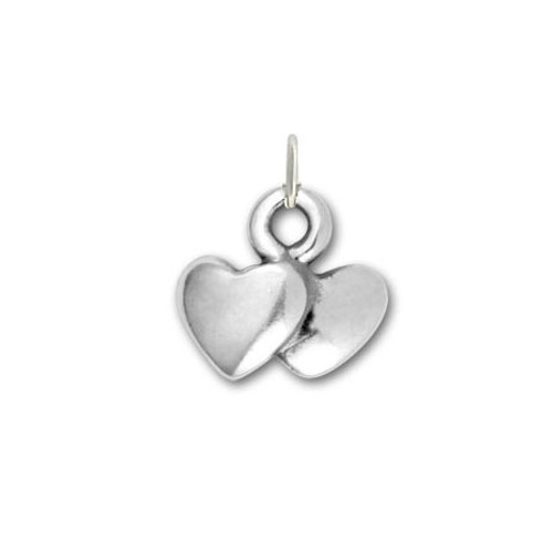 Sterling silver Double Heart Charm to add to necklaces and bracelets