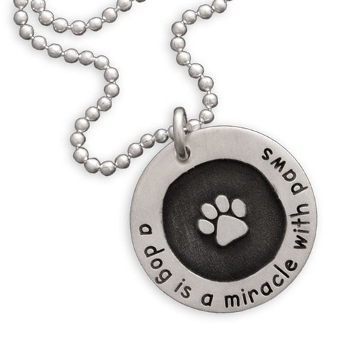 Etched Paw Circle of Love Necklace