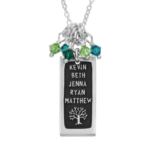 Silver Etched Rectangle Family Tree Necklace personalized with family names, shown close up on white