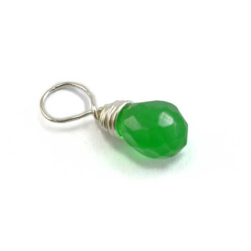 Faceted Green Glass Briolette (May)