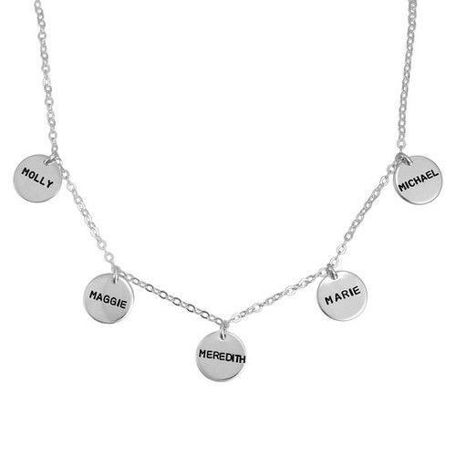 Custom silver hand stamped disc necklace for mom, personalized with kids' names on each disc, shown on white