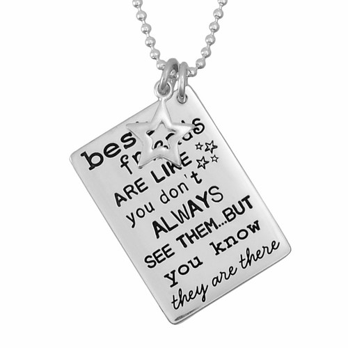"Silver custom Best friends necklace, with ""Friends are Like Stars"" hand stamped on the front, shown close up on white"