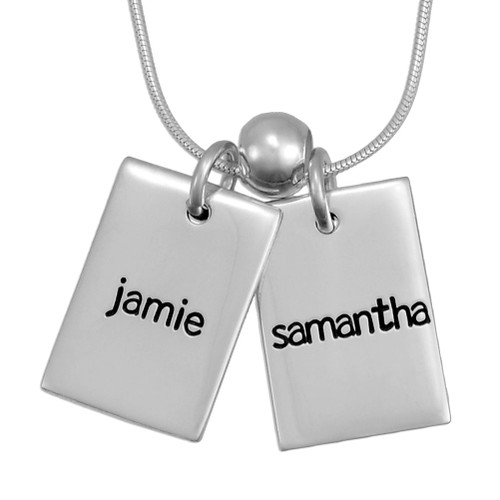 Personalized Funky Rectangle silver Necklace, hand stamped with kids' names, shown close up on white