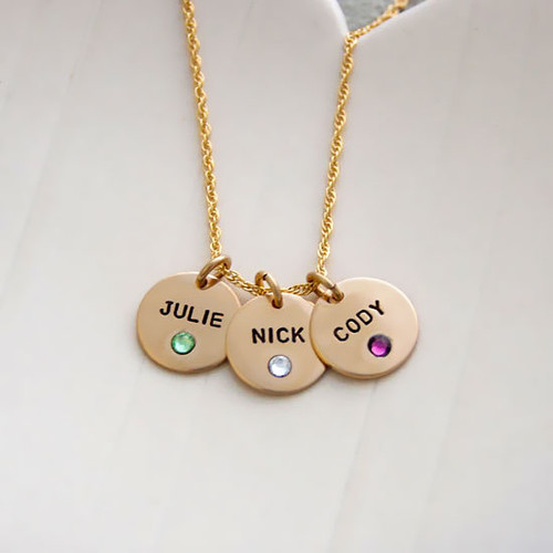 Custom Gold Disc with Crystal Birthstones Necklace, personalized with hand stamped kids' names