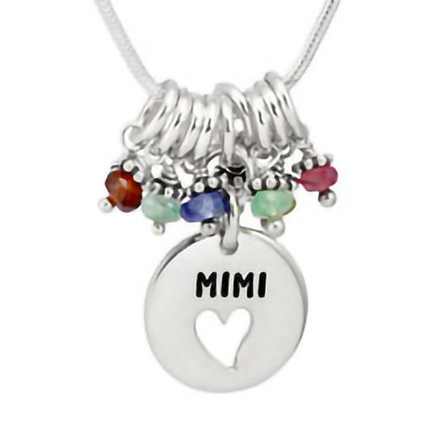 Silver Grandma Heart Disc Necklace with birthstones, personalized with hand stamped Mimi, shown on white close up