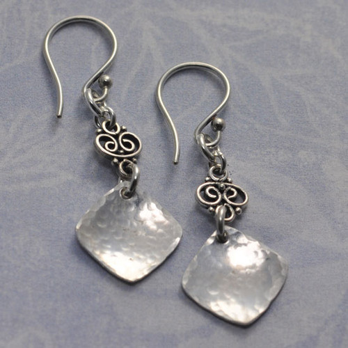 Hammered Square with Finial Earrings
