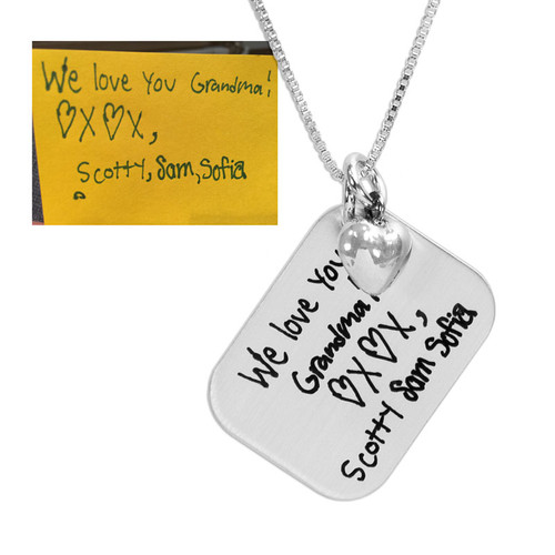 Custom Silver Love Letter Handwriting Necklace for Grandma, shown with original handwritten note from the grandkids used to personalize it