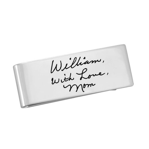 Personalized sterling silver handwriting money clip, engraved with note from Mom, shown on white