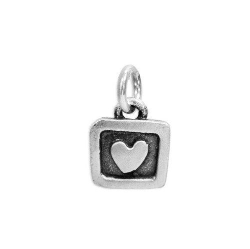 Silver Heart in a Square Charm