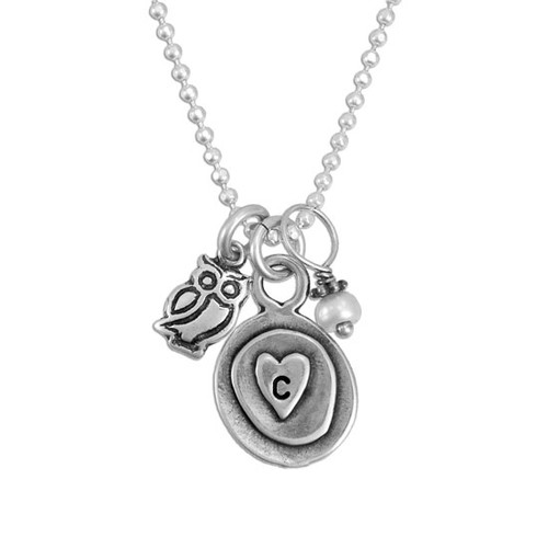 Silver charm initial necklace, with a heart, pearl and owl charm