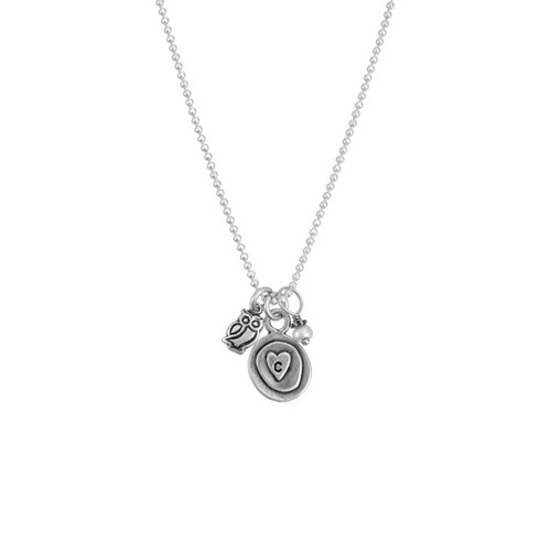 Silver charm initial necklace, with a heart, pearl and owl charm shown on white